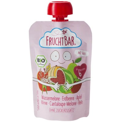 FruchtBar Organic Fruit Puree with Rice - Watermelon, Strawberry, Apple, Pear & Cantaloupe 100g (6 mos+)