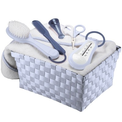 Beaba Personal Care Basket (Thermometer + Scissors + Brush & Comb + Cotton Towel) - Mineral