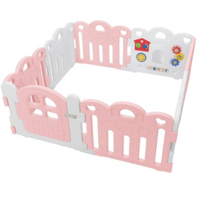 Haenim Toy Petit Baby Room 8 Panels (147 x 147 x 60 cm) - Pink / White (PLAY MAT NOT INCLUDED)