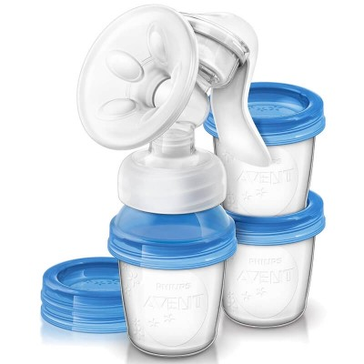 Philips Avent Comfort Manual Breast Pump with 3 x 180ml Storage Cups