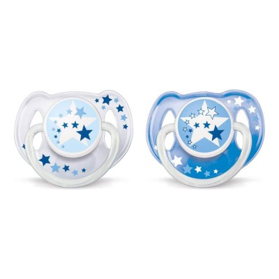 Philips Avent Night Time Soother 6-18mos - Blue Stars