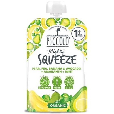 Piccolo Mighty Squeeze Pear, Pea, Banana & Avocado + Amaranth + Mint 100g (12mos+)