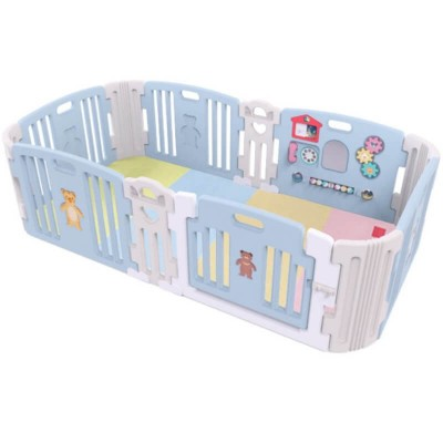 Haenim Toy Premium Baby Room and Play Mat Set with Panel Holders - Pastel Blue (204 x 127 x 60 cm)