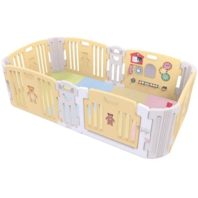 Haenim Toy Premium Baby Room and Play Mat Set with Panel Holders - Pastel Yellow (204 x 127 x 60 cm)