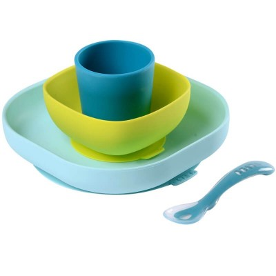 Beaba Silicone Suction Meal Set - Peacock