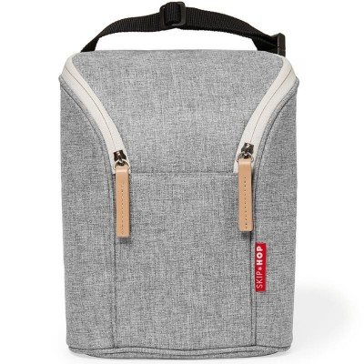 Skip Hop Grab & Go Double Bottle Bag - Grey Melange