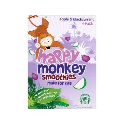 Happy Monkey Smoothies - Apple & Blackcurrant 4 x 180ml