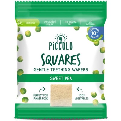 Piccolo Squares Gentle Teething Wafers Sweet Pea 20g (10mos+)