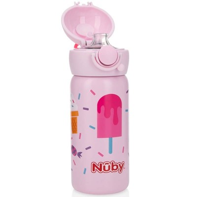 Nuby Stainless Steel Sport Bottle Spout with Push Button Cap 10oz/300ml - Ice Dreaming