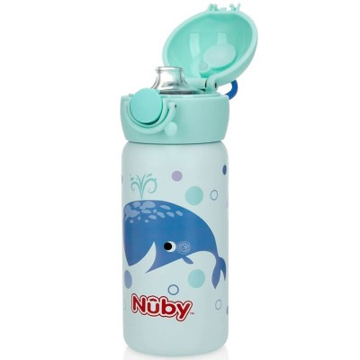 Nuby Stainless Steel Sport Bottle Spout with Push Button Cap 10oz/300ml - Jocular Whales