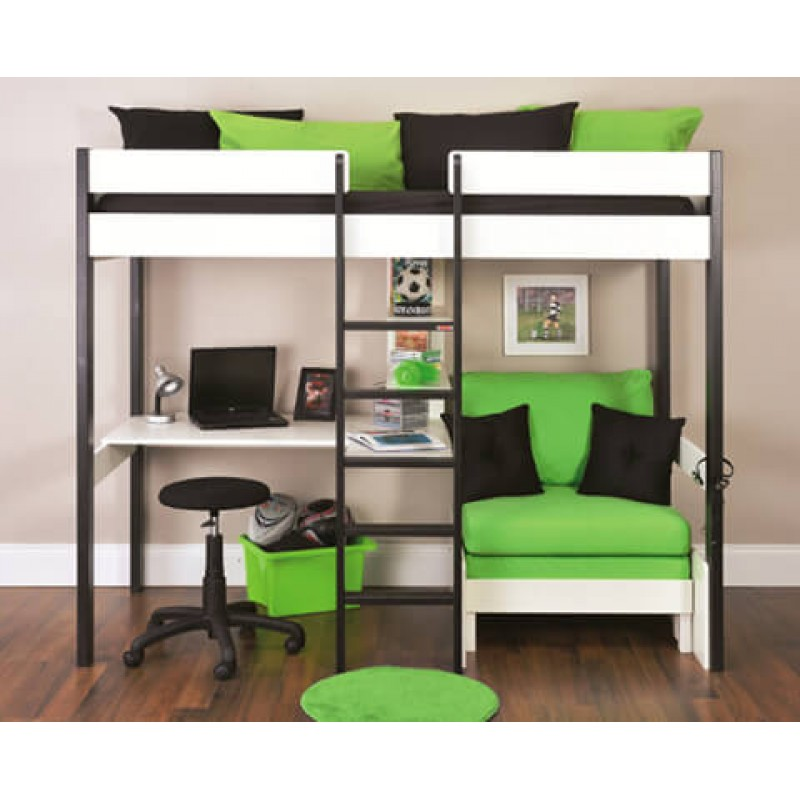 Stompa Uno 5 Nero High Sleeper With Desk Pullout Chairbed With