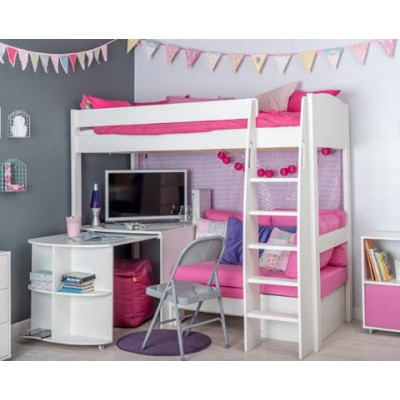 Stompa Uno S22 High Sleeper Frame & Corner Sofa Bed (Pink) & Fixed Desk & Pull Out Desk