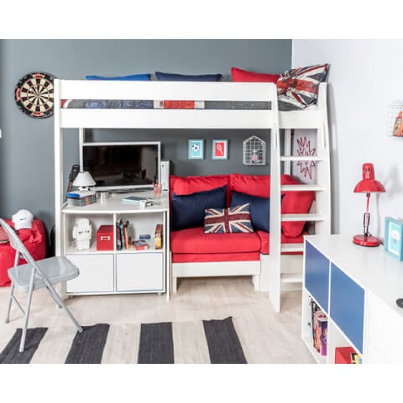Excellent Stompa Uno S24 High Sleeper Frame Corner Sofa Bed Red Fixed Desk 1 Cube Unit 2 White Doors Forskolin Free Trial Chair Design Images Forskolin Free Trialorg