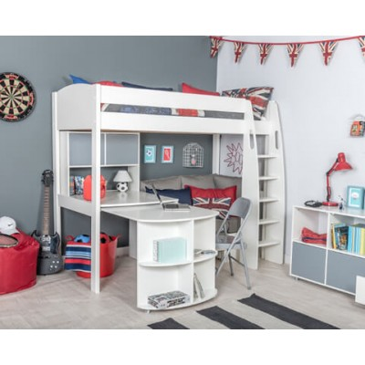 Stompa Uno S25 High Sleeper Frame & Corner Sofa Bed (Grey) & Fixed Desk & Pull Out Desk & Hutch (2 Grey Doors)