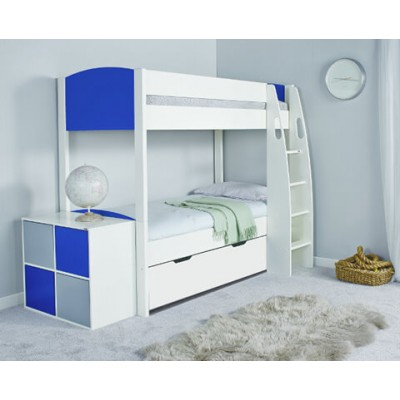Stompa Uno S Detachable Bunk Bed & Drawer with Blue Headboard