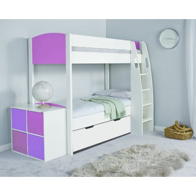 Stompa Uno S Detachable Bunk Bed & Drawer with Pink Headboard