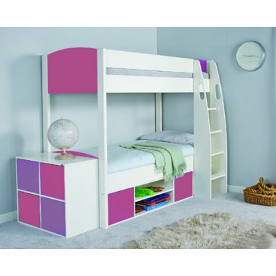 Stompa Uno S Detachable Bunk Bed & Storage with Pink Headboards