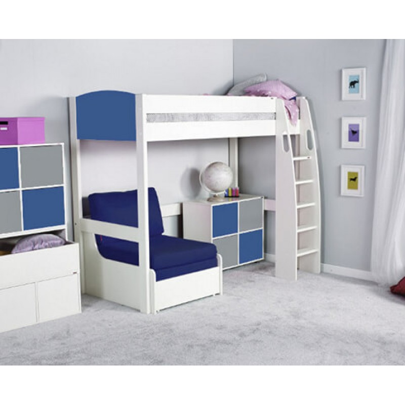 Swell Stompa Uno S High Sleeper Frame Chair Bed Blue 1 Cube Unit 2 Blue 2 Grey Doors With Blue Headboard Theyellowbook Wood Chair Design Ideas Theyellowbookinfo