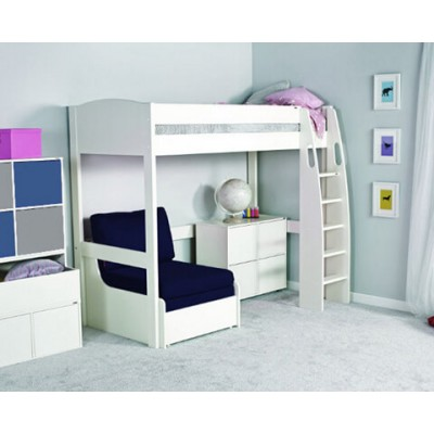 Stompa Uno S High Sleeper Frame & Chair Bed (Blue) & 1 Cube Unit (4 White Doors) with White Headboard