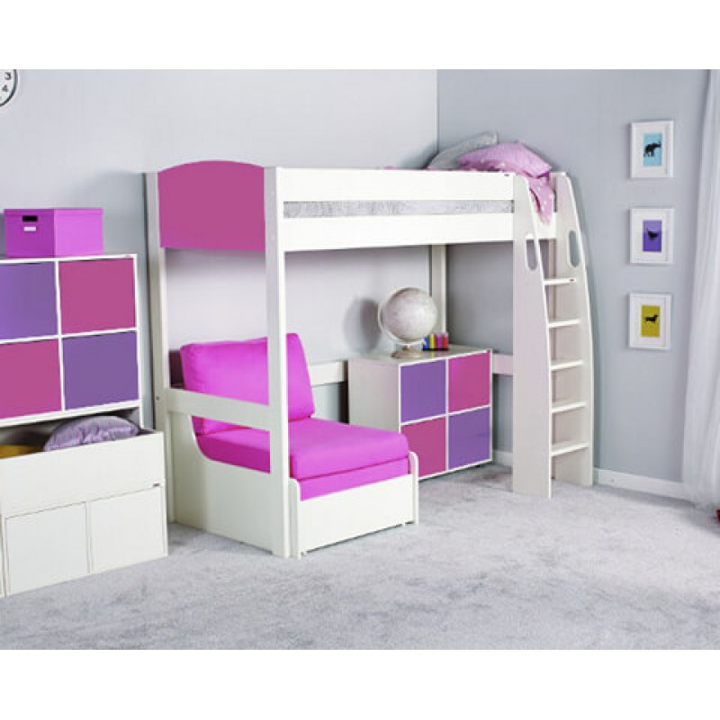 Cool Stompa Uno S High Sleeper Frame Chair Bed Pink 1 Cube Unit 2 Pink 2 Purple Doors With Pink Headboard Theyellowbook Wood Chair Design Ideas Theyellowbookinfo