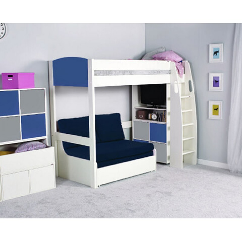 Pleasing Stompa Uno S High Sleeper Frame Sofa Bed Blue With Blue Headboard Cube Unit Not Included Forskolin Free Trial Chair Design Images Forskolin Free Trialorg