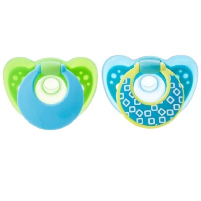 The First Years GumDrop 6-18m Pacifiers 2-Pack - Green/Blue