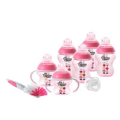 Tommee Tippee Closer to Nature Decorated Bottle Newborn Starter Kit - Pink