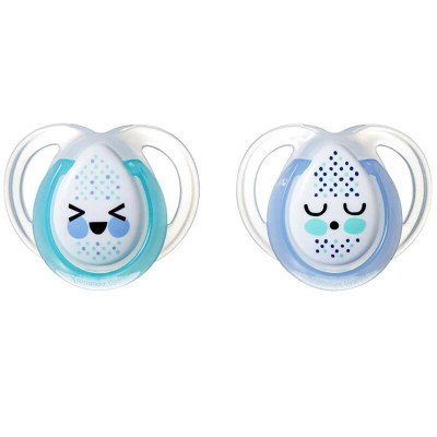 Tommee Tippee Closer to Nature Night Time Soother 0-6m (Twin Pack) - Green/Blue