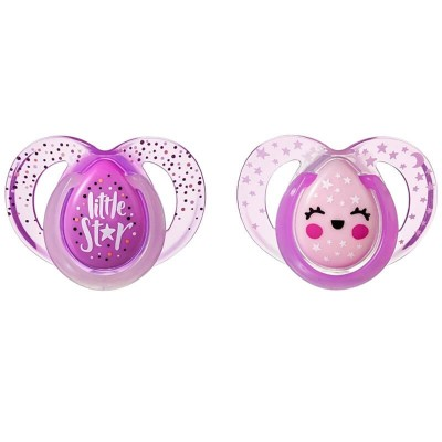 Tommee Tippee Closer to Nature Night Time Soother 6-18m (Twin Pack) - Pink