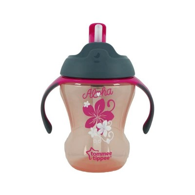 Tommee Tippee Trainer Straw Cup 230ml (9m+) - Grey / Pink