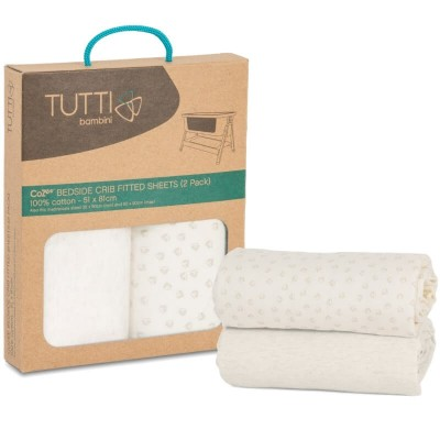 Tutti Bambini CoZee Fitted Sheets (Twin Pack) - Neutral/Pebble