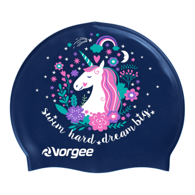 Vorgee Printed Silicon Swim Cap - Miss Glamour - Unicorn