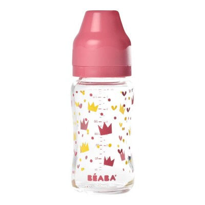 Beaba Wide Neck Glass Bottle - Yellow / Pink Crown 240ml