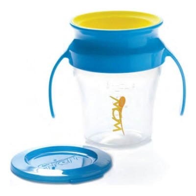 Wow Gear 7 oz (207ml) WOW Baby Spill Free Training Cup - Translucent with Blue Handle & Yellow Valve
