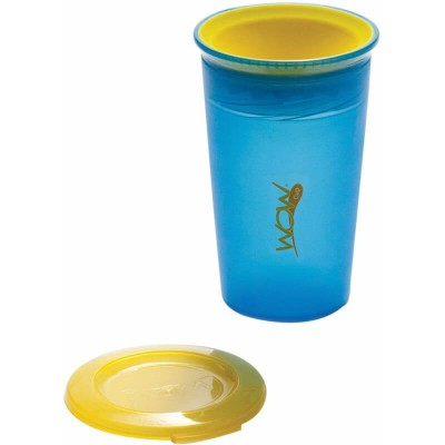 Wow Gear 9 oz (266ml) WOW Cup for Kids Spill Free Drinking Cup - Translucent Blue with Yellow Valve