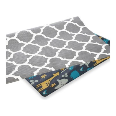 Bumpamats Zoo animals & Grey honeycomb - Large