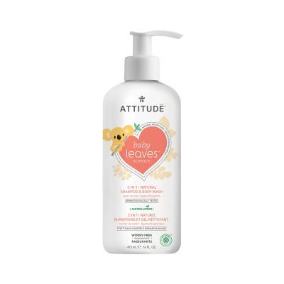 ATTITUDE Baby Leaves Science 2-in-1 Natural Shampoo & Body Wash - Pear Nectar 473ml