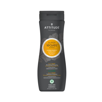ATTITUDE Super Leaves Science Natural Shampoo & Body Wash - Ginseng & Grape Seed Oil 473ml