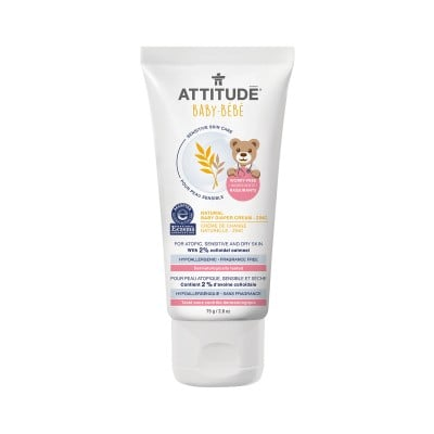 ATTITUDE Baby Bébé Sensitive Skin Care Natural Baby Diaper Cream, Zinc - Fragrance Free 75g