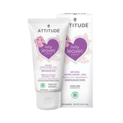 ATTITUDE Baby Leaves Science Natural Diaper Cream, Zinc - Fragrance-Free 75g