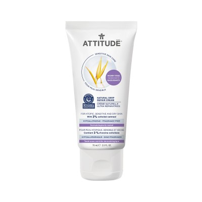 ATTITUDE Sensitive Skin Care Natural Deep Repair Cream - Fragrance Free 75ml