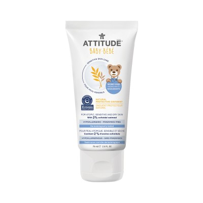 ATTITUDE Baby Bébé Sensitive Skin Care Natural Protective Ointment - Fragrance Free 75ml