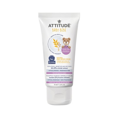 ATTITUDE Baby Bébé Sensitive Skin Care Natural Deep Repair Cream - Fragrance Free 75ml