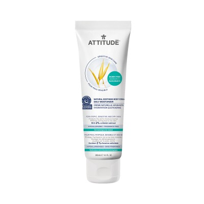 ATTITUDE Sensitive Skin Care Natural Soothing Bodycream Daily Moisturizer - Fragrance Free 240ml