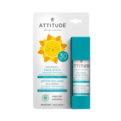 ATTITUDE Family 100% Mineral Face Stick SPF30 - Fragrance Free 18.4g