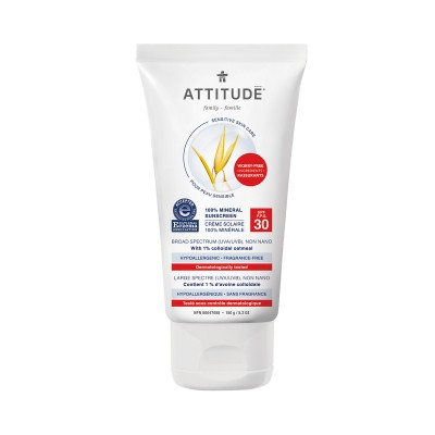 ATTITUDE Sensitive Skin Care 100% Mineral Sunscreen SPF30 - Fragrance-Free 150g