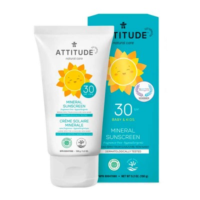 ATTITUDE Natural Care SPF30 Mineral Sunscreen - Fragrance-Free 150g