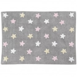 Lorena Canals Tricolor Stars Grey-Pink 120x..